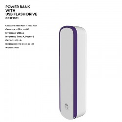 Plastic ER CLASSIC CC1P1001 Power Bank with USB Flash Drive
